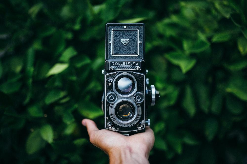 vintage black Rolleflex camera