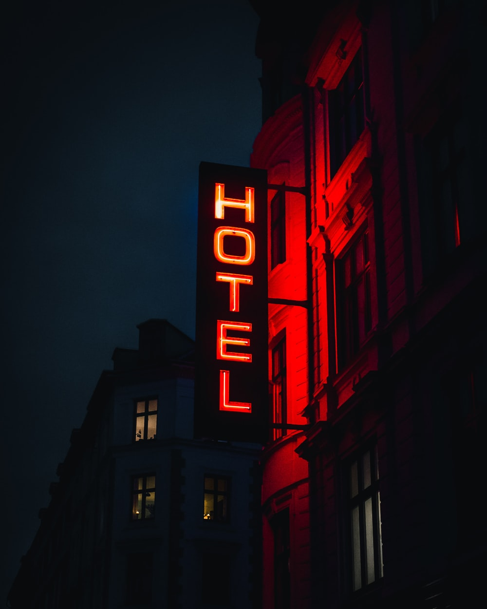 turned-on Hotel LED signage