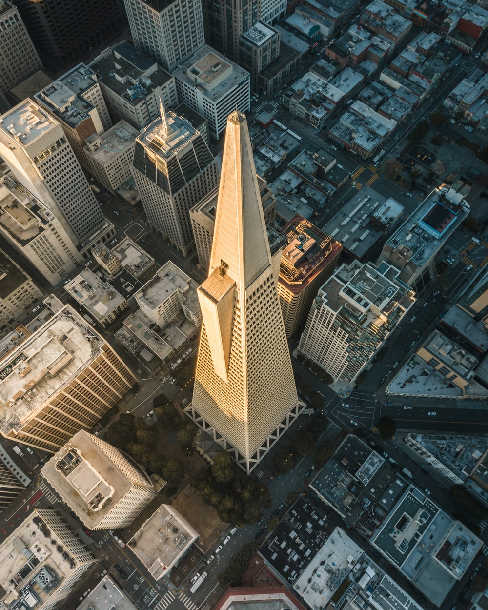aerial photography of gray conical tower