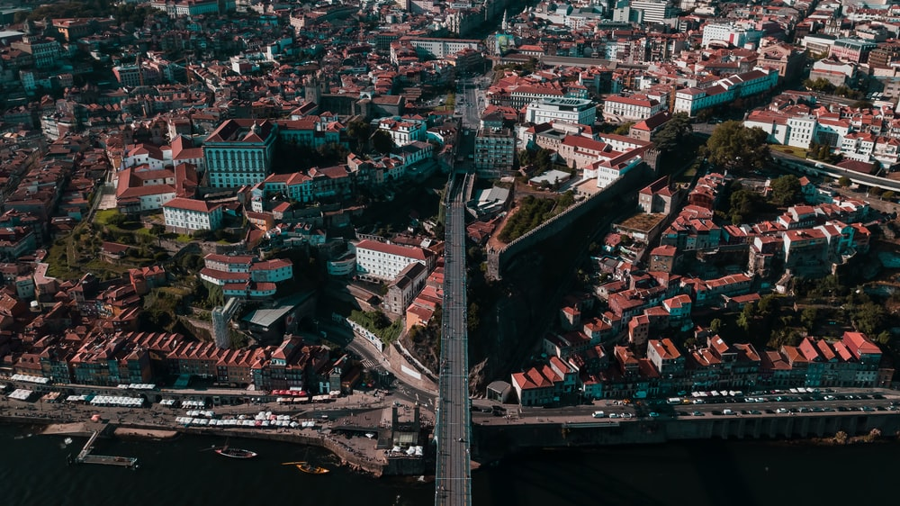 aerial view of bridge and city