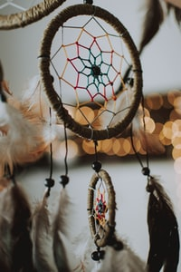 selective focus photography of brown and multicolored dream catcher