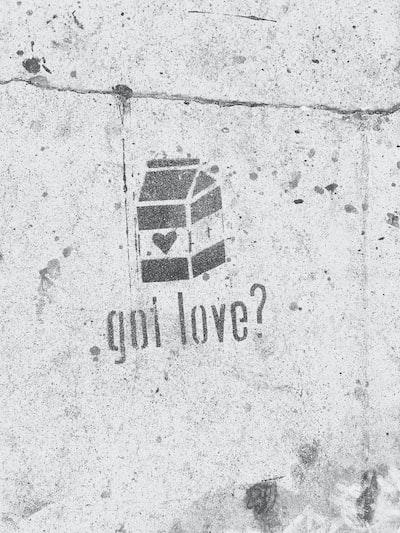 got love? with milk carton graffiti on concrete wall