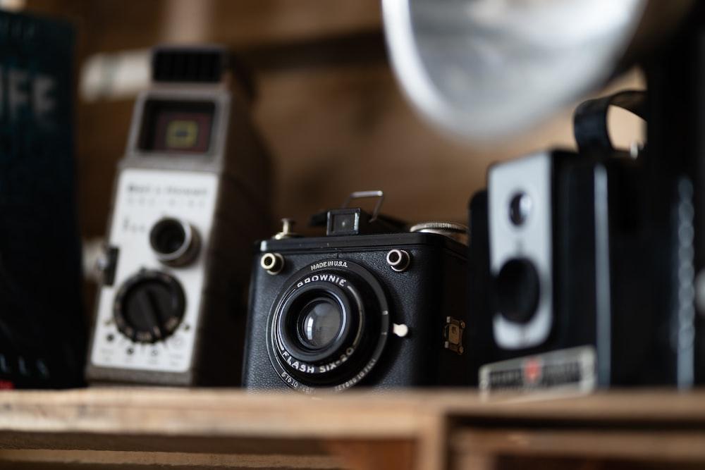 tilt-shift lens photo of box camera