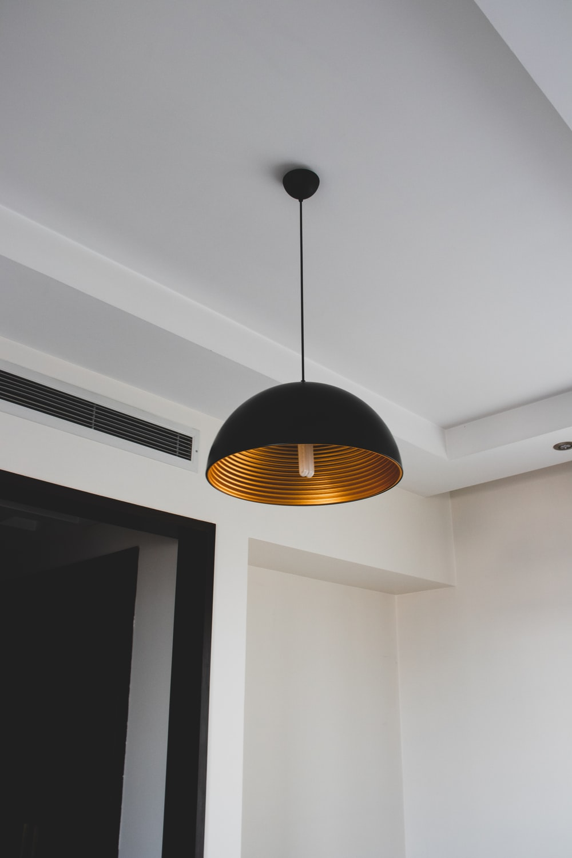black and yellow pendant lamp