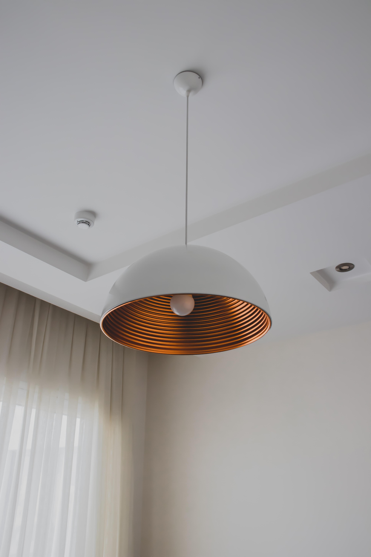white and orange pendant lamp