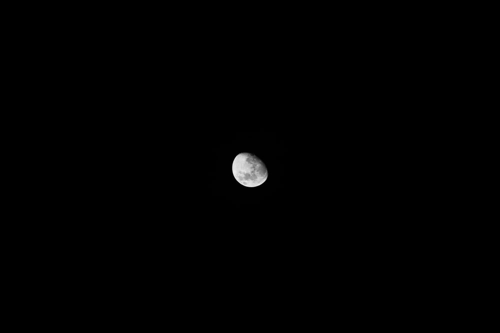moon against black background