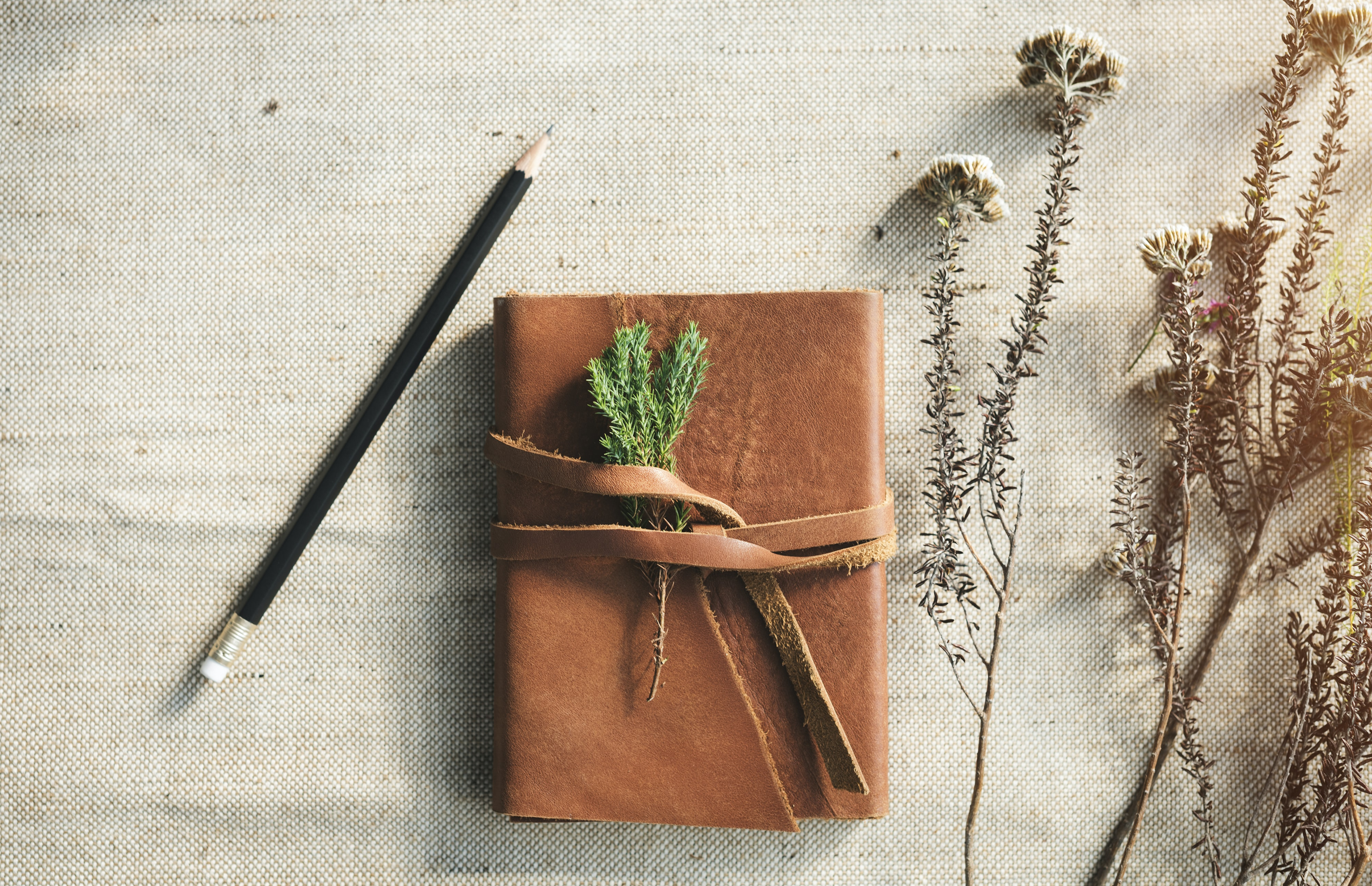 pencil beside book and flowers