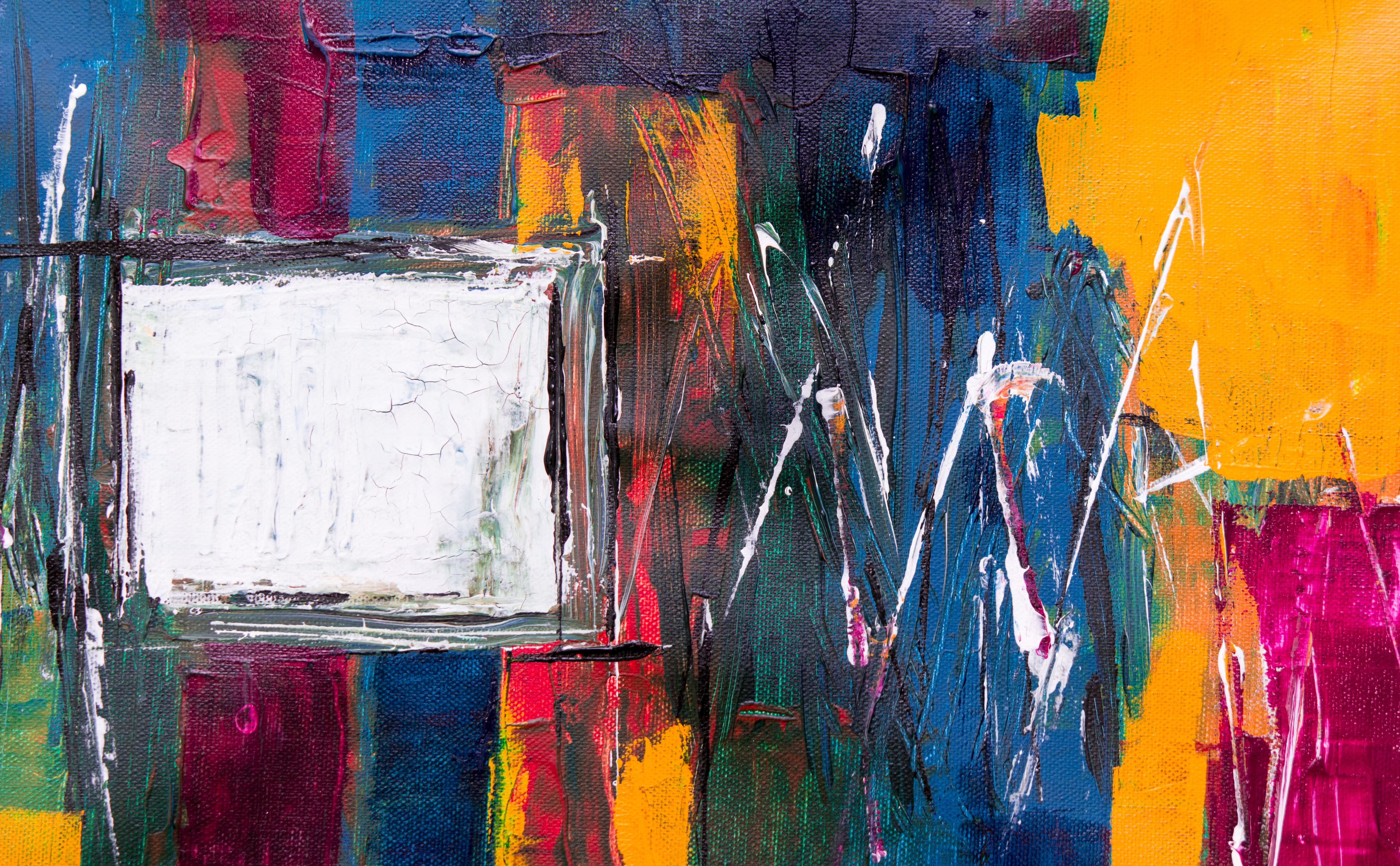 orange, blue, and white abstract painting