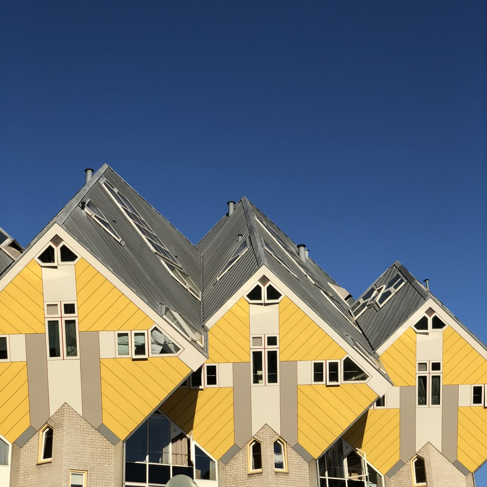 black and yellow house roofings