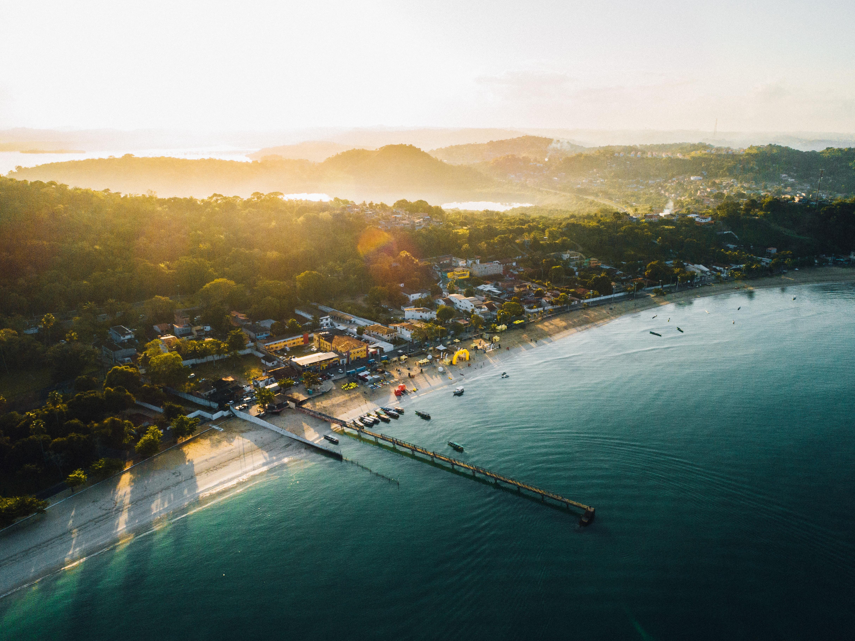 aerial view of beach resort during sunrise
