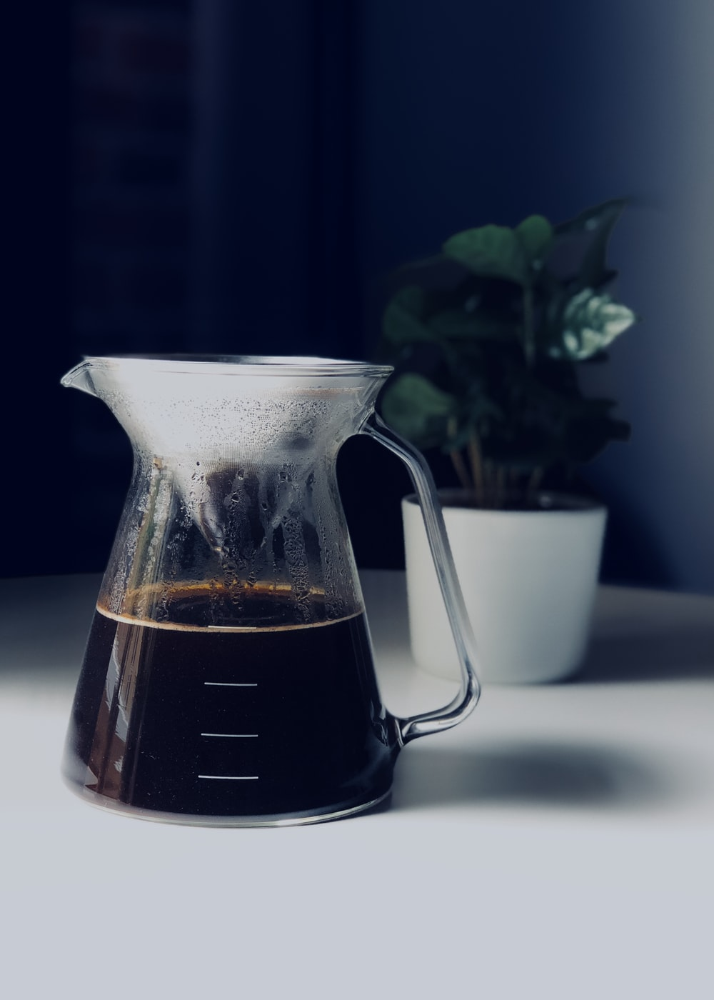 coffee in clear glass pitcher