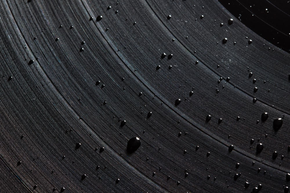 droplets on vinyl disc close-up photography
