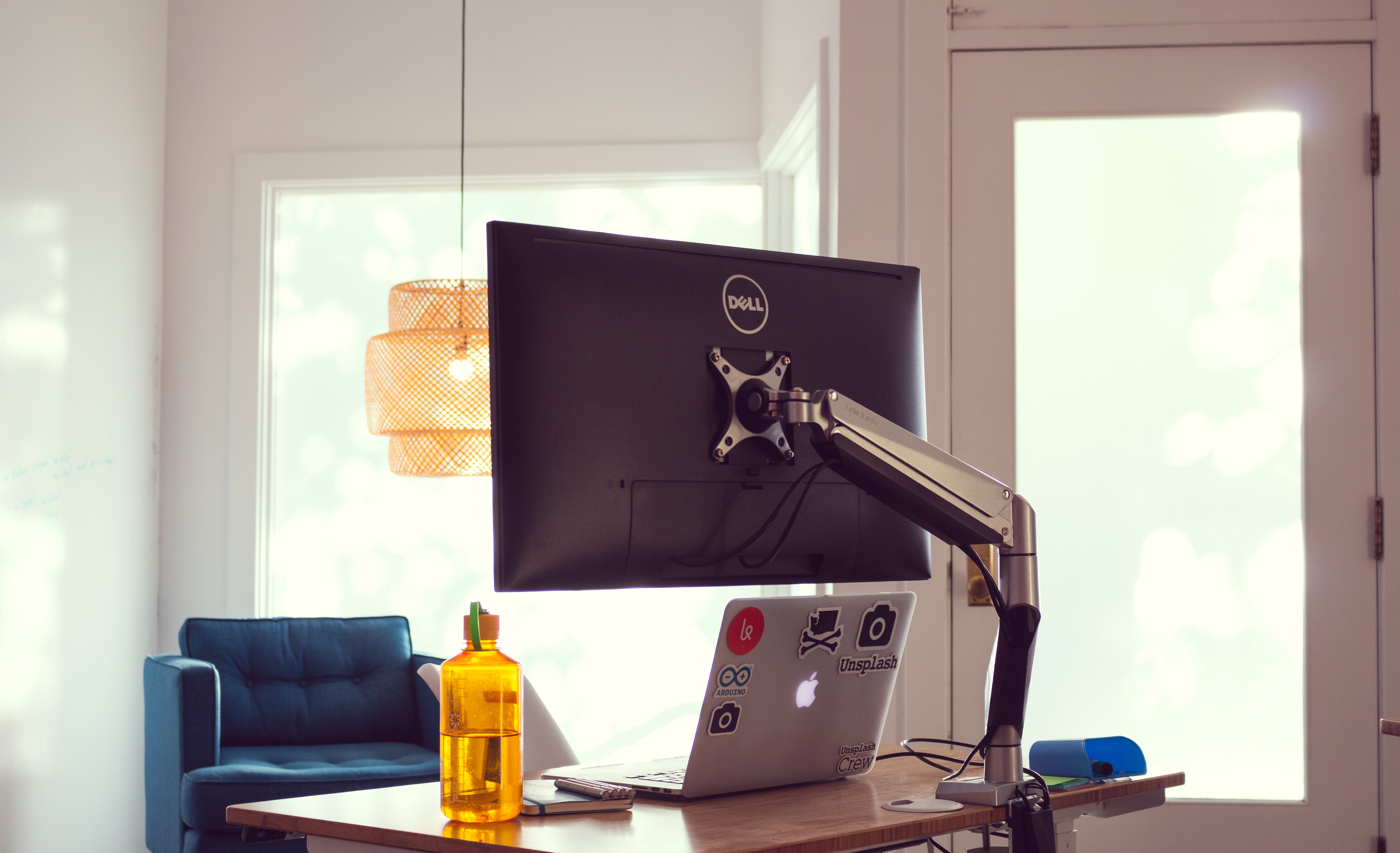 Dell monitor mounted on table