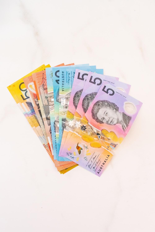 assorted Australian dollar banknotes