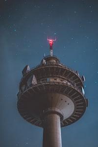 grey tower during nighttime