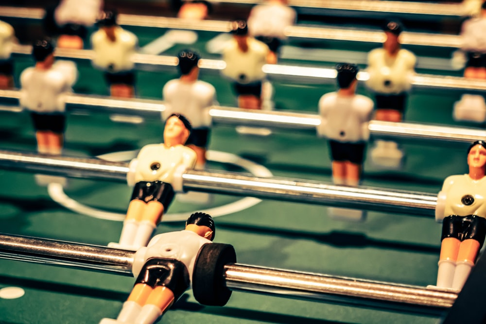 close up photography of foosball table