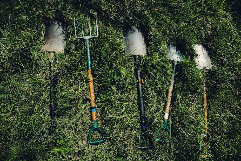 several shovels on grass