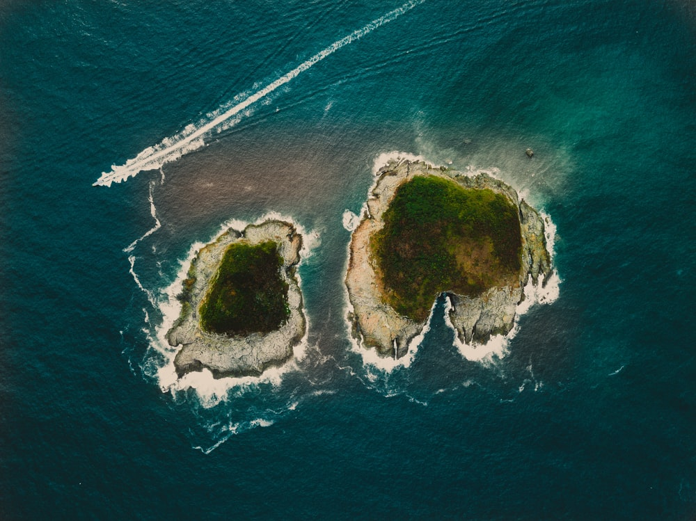 high angle photography of islands beside each other