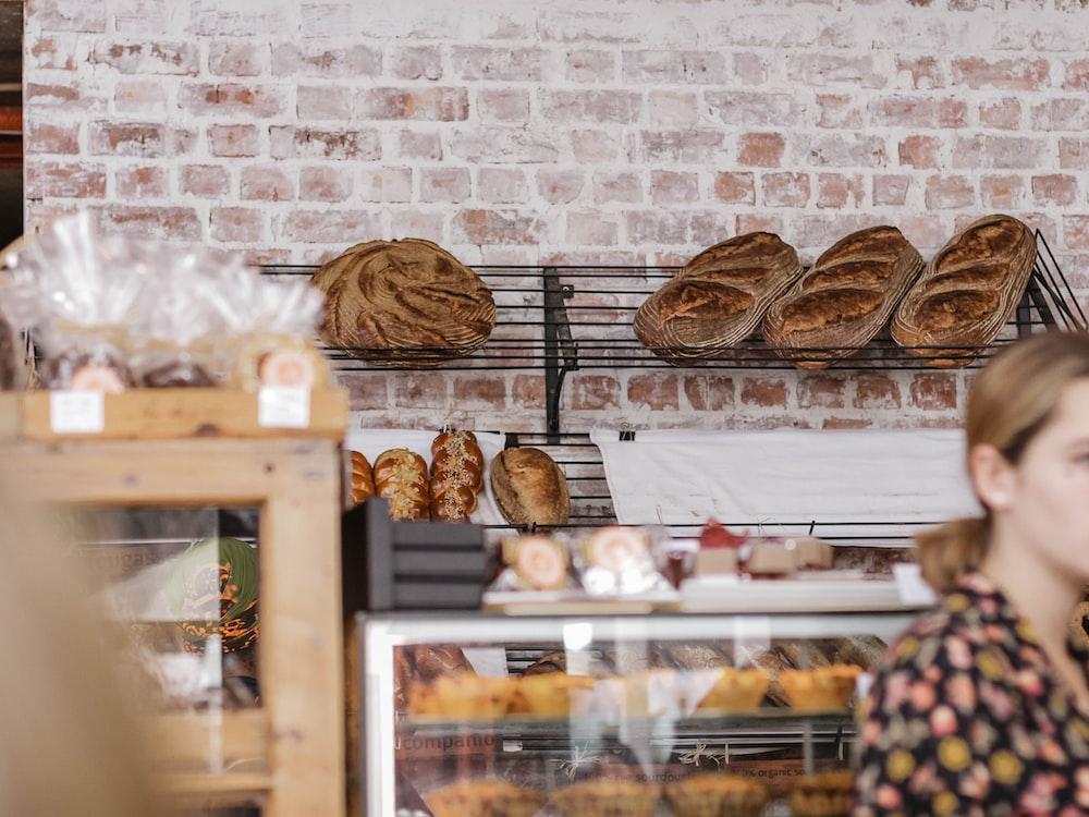 bread on black metal display rack