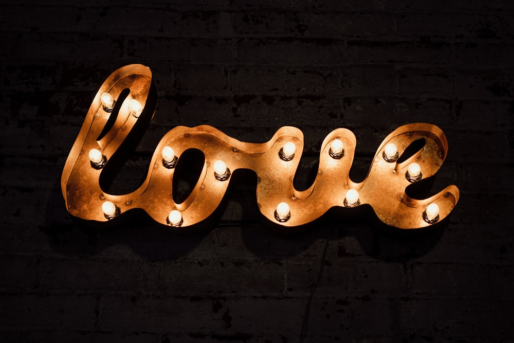 Brown Love Text With Light Signage
