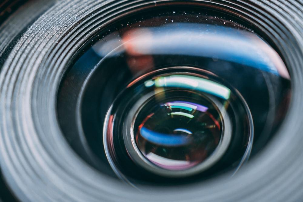 black camera lens in macro shot