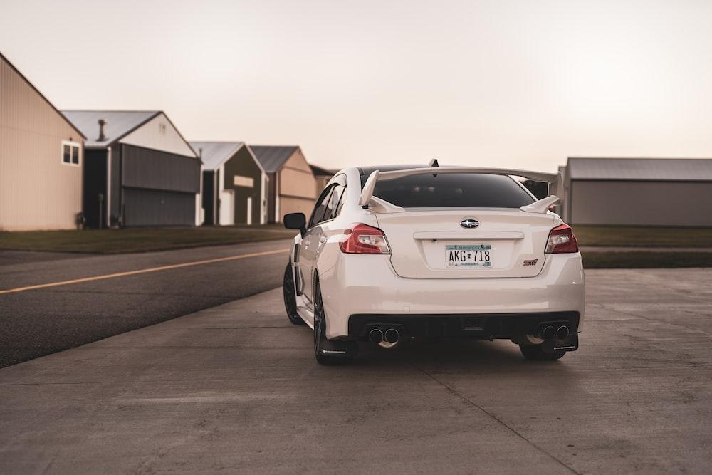 white Subaru car