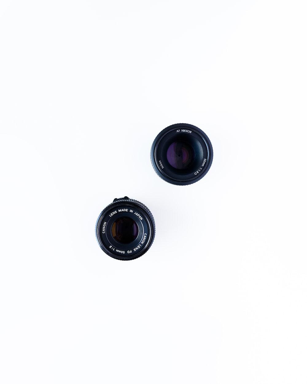 two black camera lenses