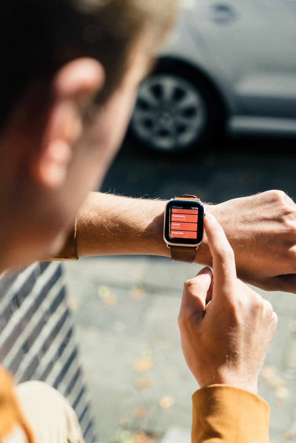 person using smartwatch