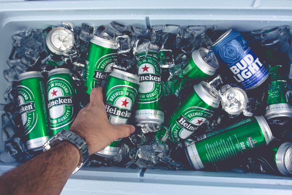 Heineken and Bud Light can in cooler