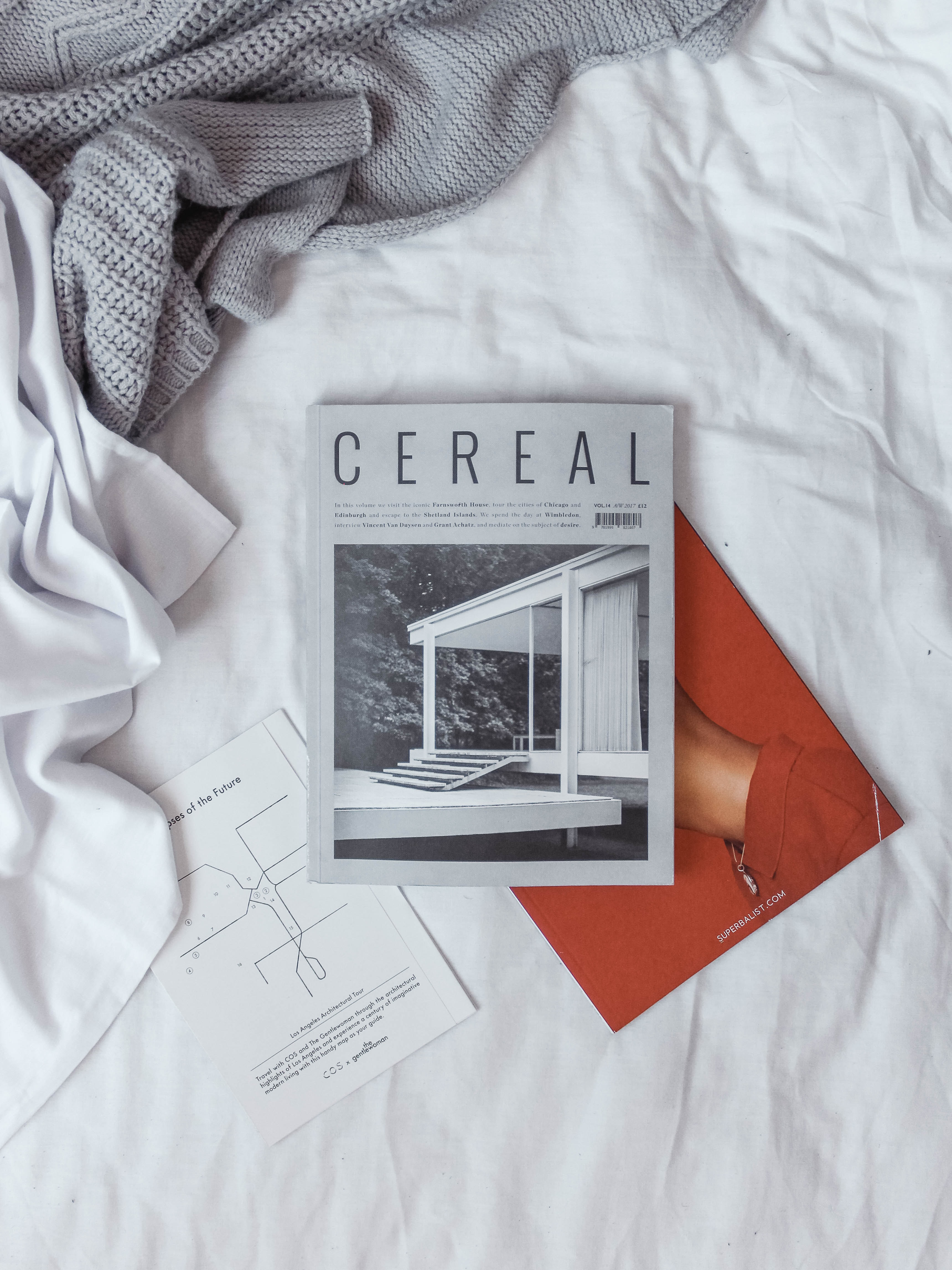 Cereal book on white textile