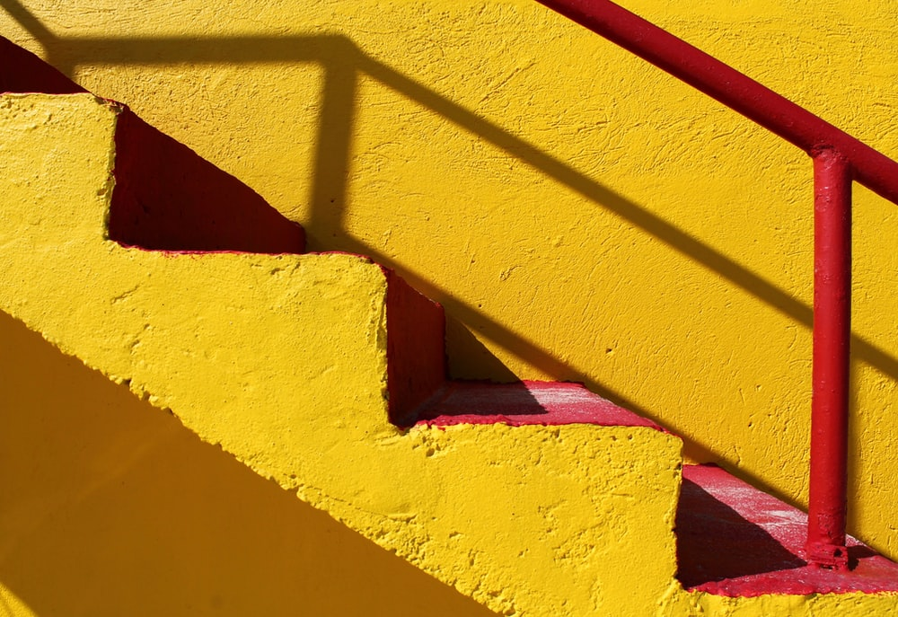 closeup of yellow and red stair