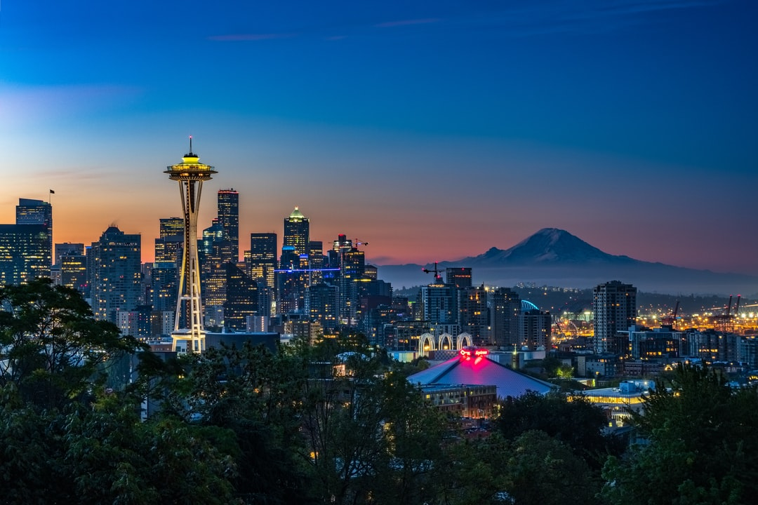 the most commonly seen composition of seattle because it incorporates all of our most famous local landmarks in one frame: the space needle, mt. rainier, key arena, pacific science center, and columbia tower. shot during the morning twilight during the autumnal equinox. i originally planned to shoot from west seattle but a sudden change in the forecast caused me  to change plans. in my opinion, this is the best hour to shoot from kerry park due to the position of the rising sun, versus in the evening.