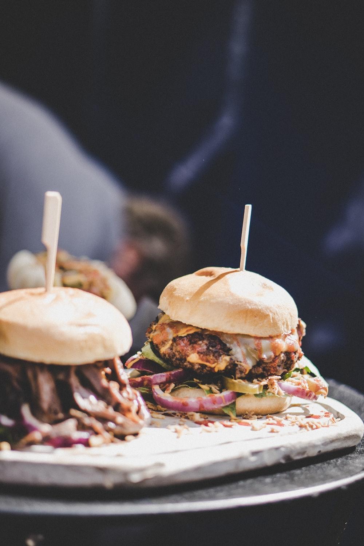two burger during daytime