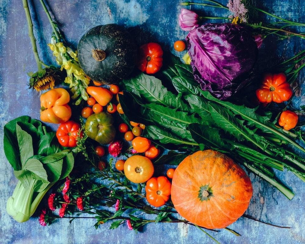 vegies on blue surface