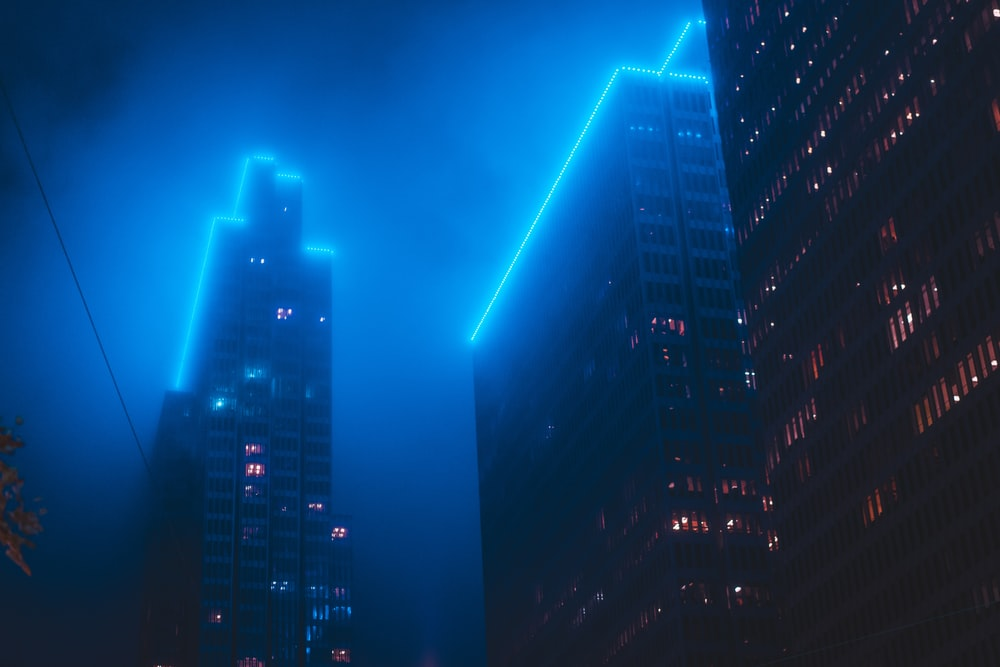 top lighted high-rise building