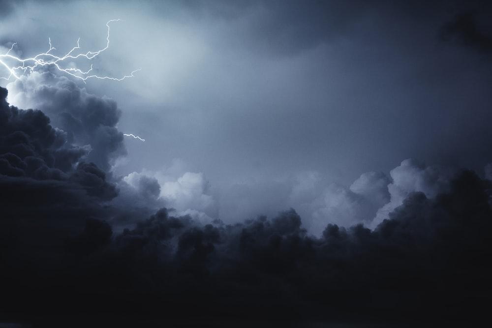 cumulus clouds and lightning