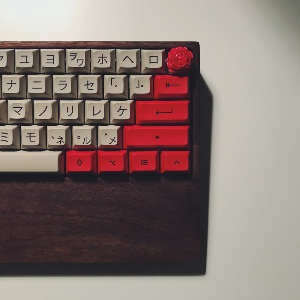 white and red keyboard keys