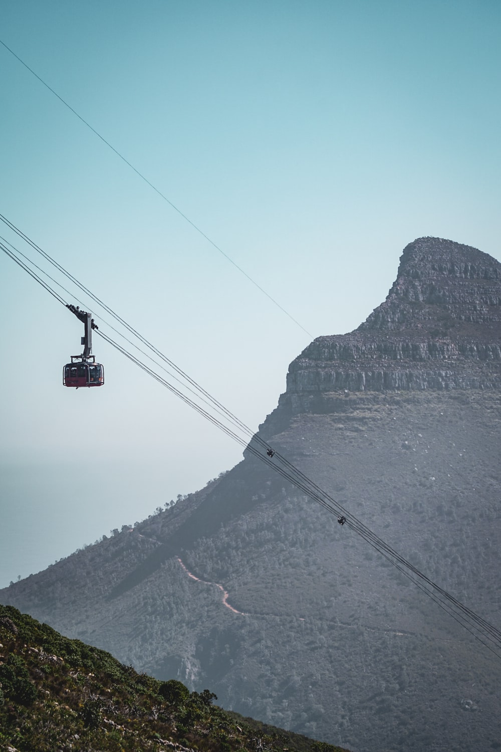 aerial photo of black cable car