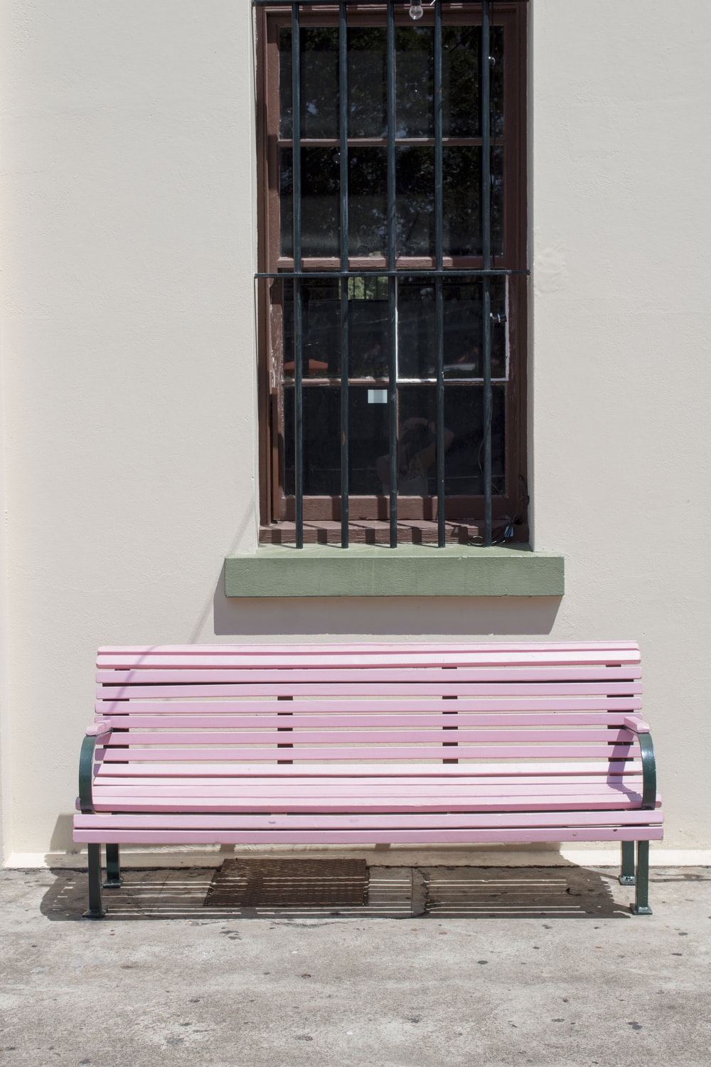 pink wooden bench chair