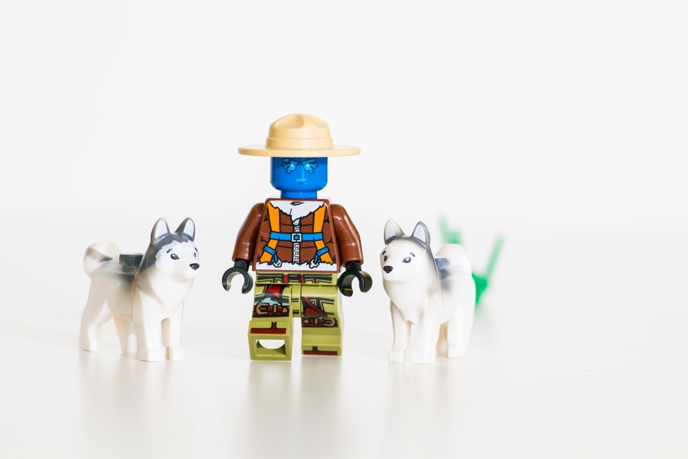 Lego minifig and two wolf plastic toys