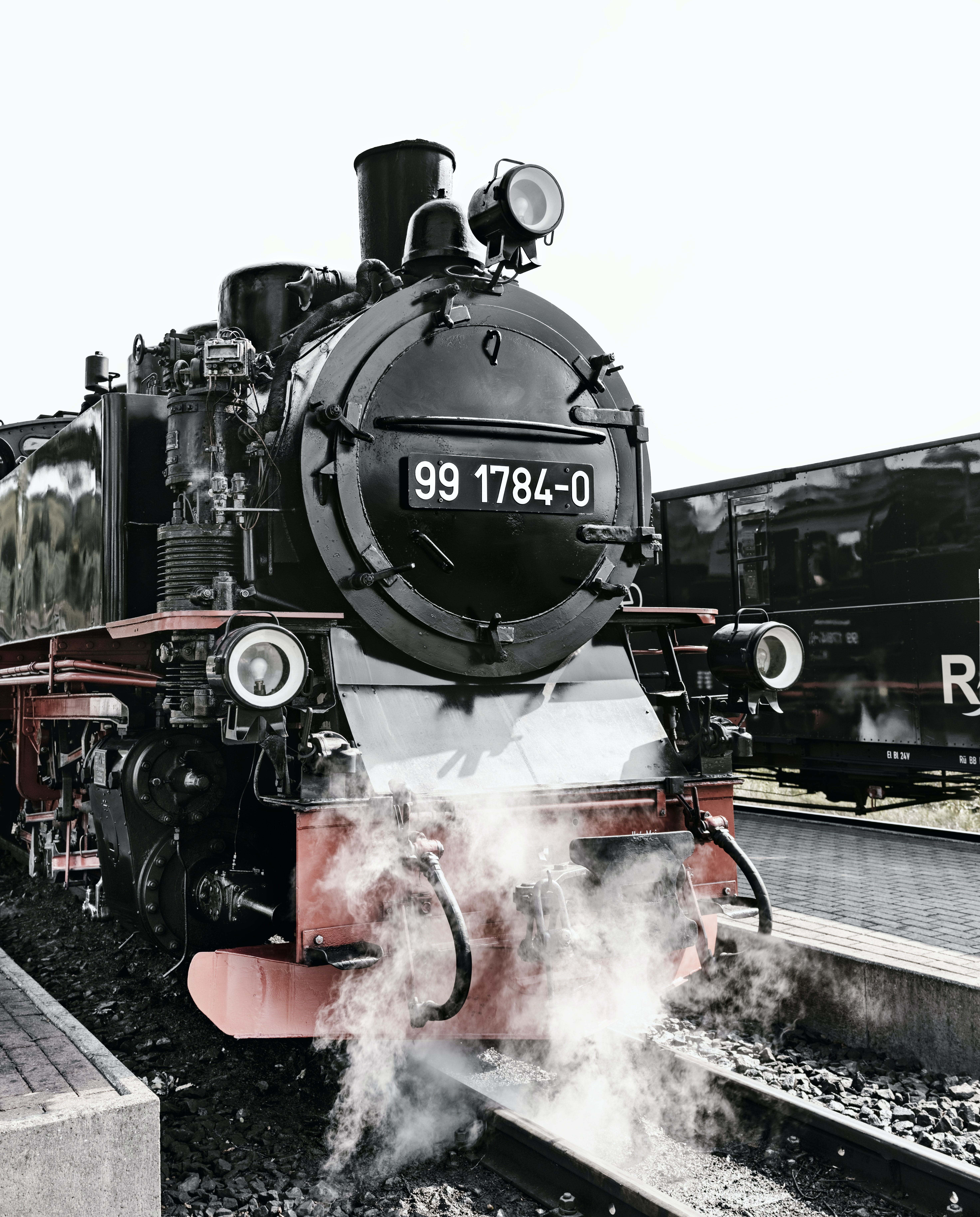 black steam engine train