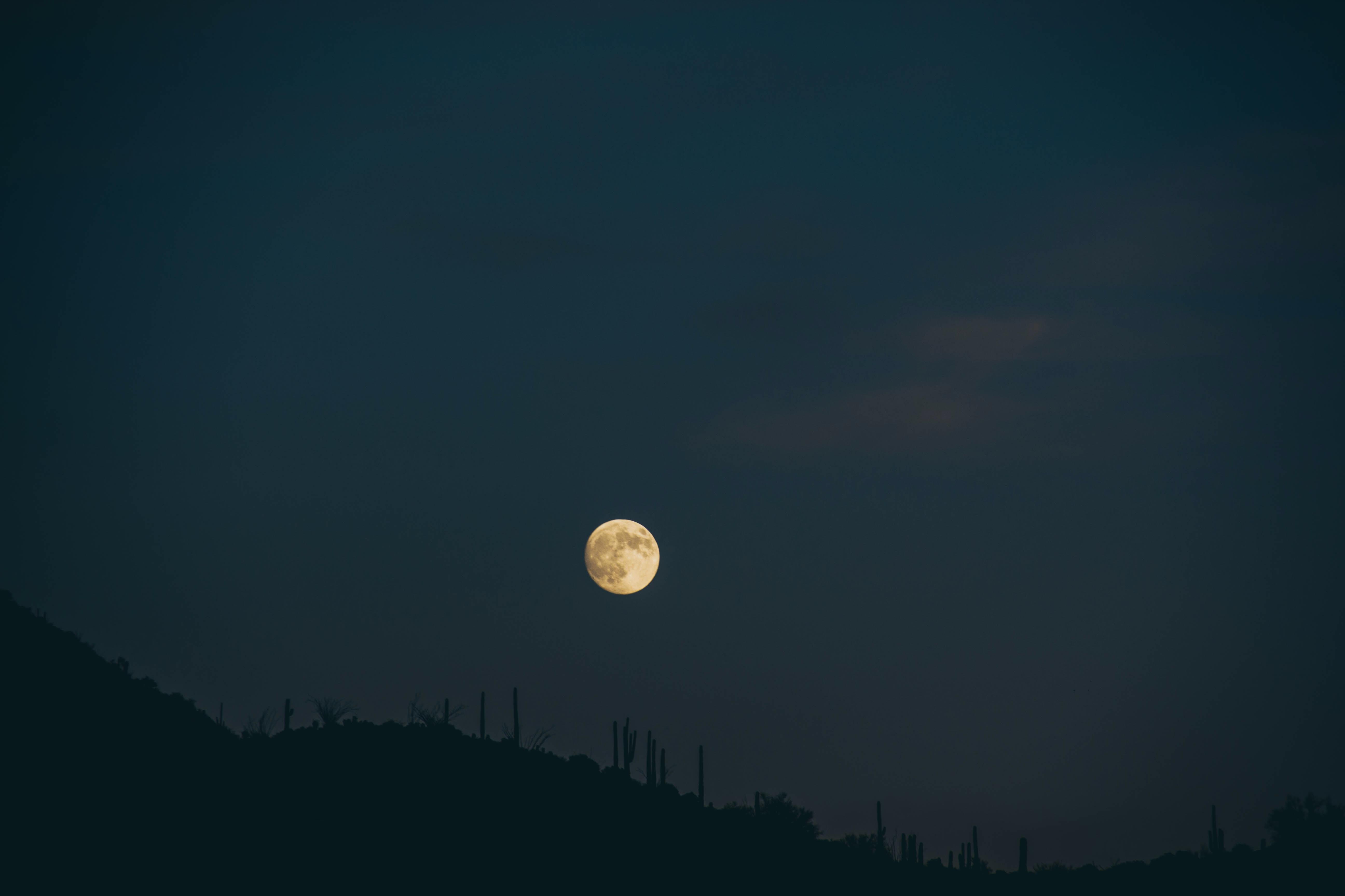 mountain under full moon