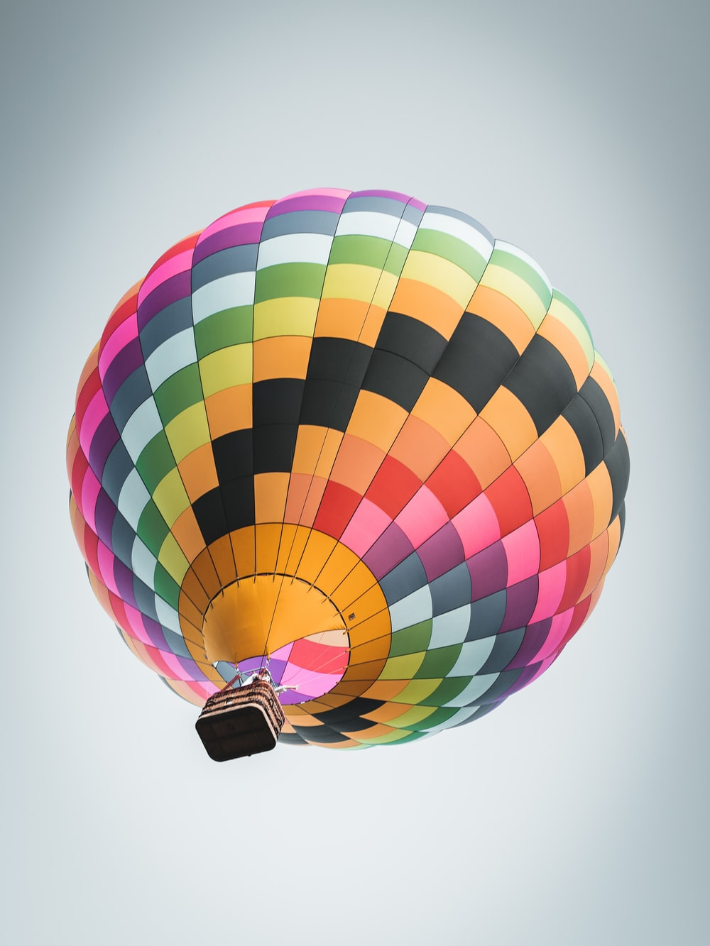 multicolored hot air balloon low-angle photography
