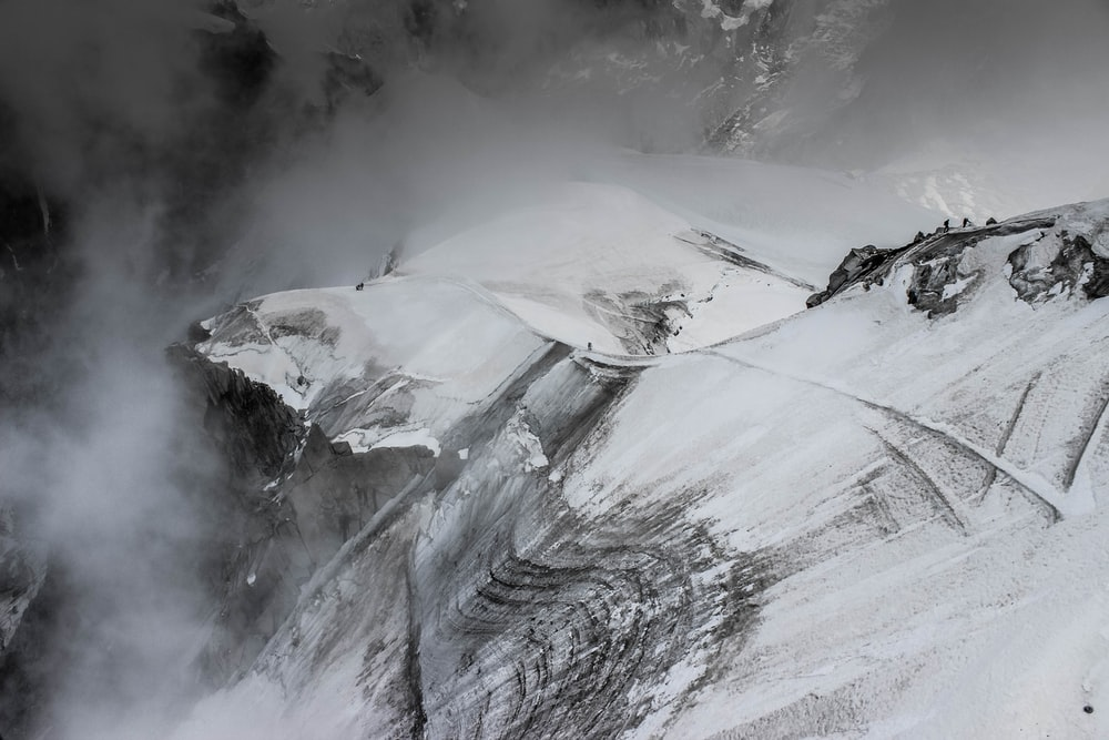 snow-covered mountain painting