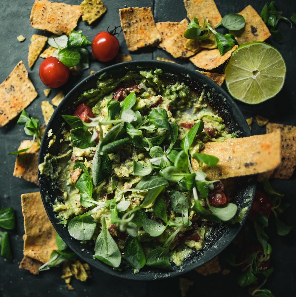 vegetable salad on round tray