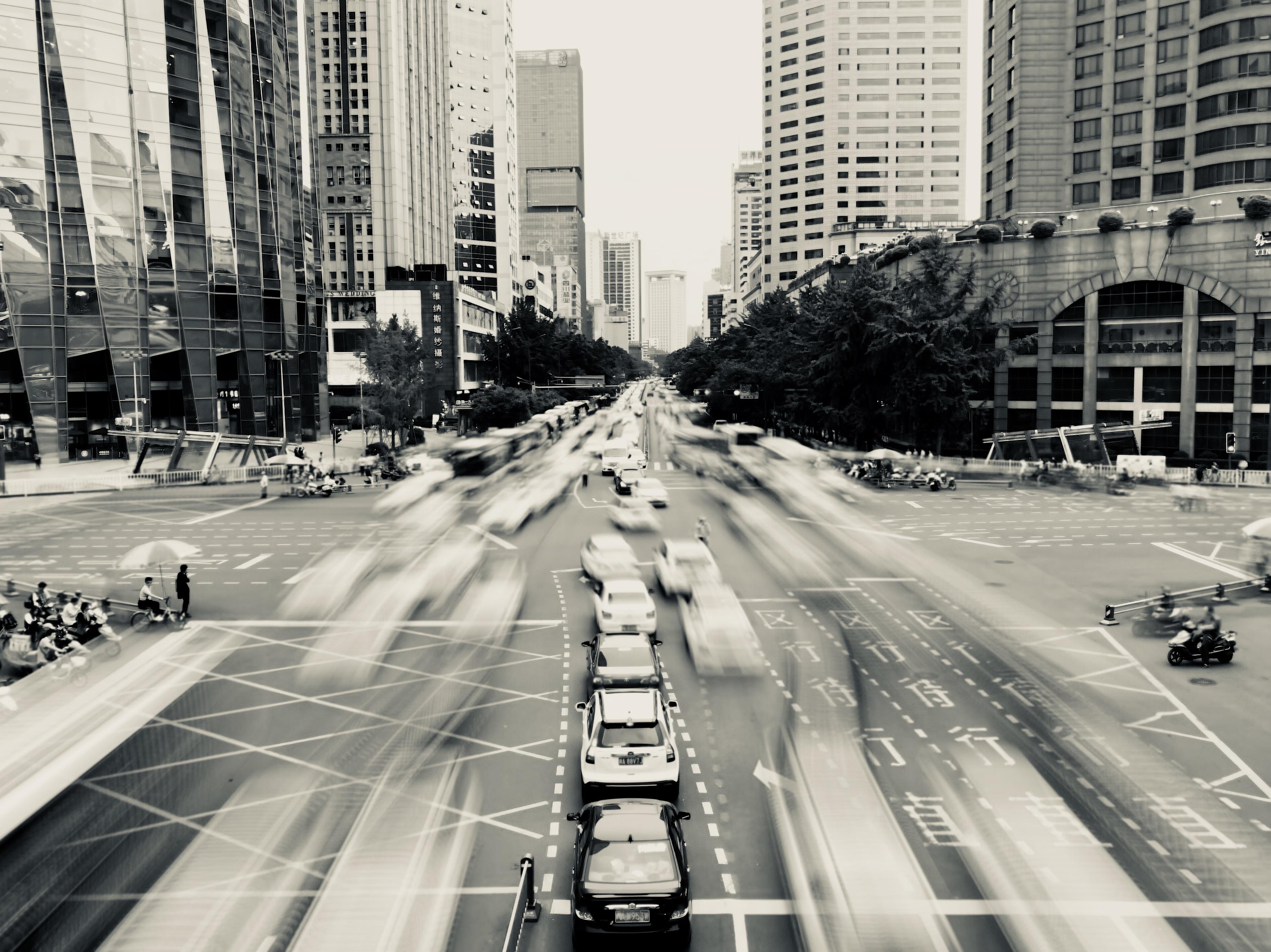 long exposure photography of cars on strett