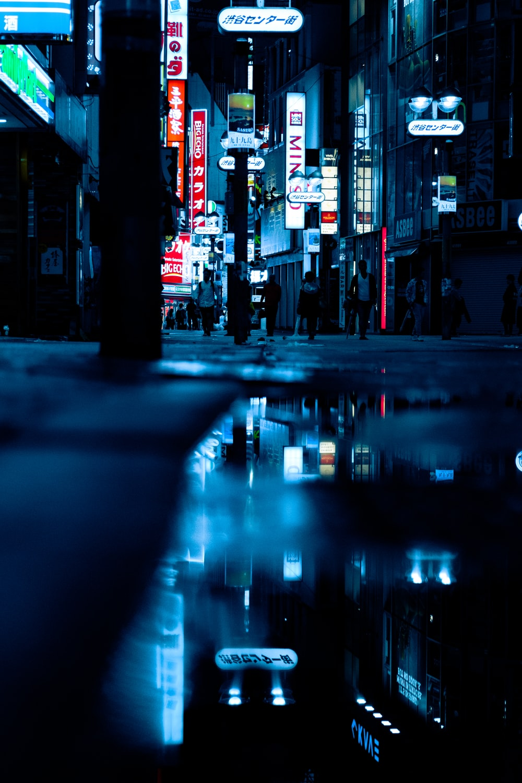 reflection of city night lights