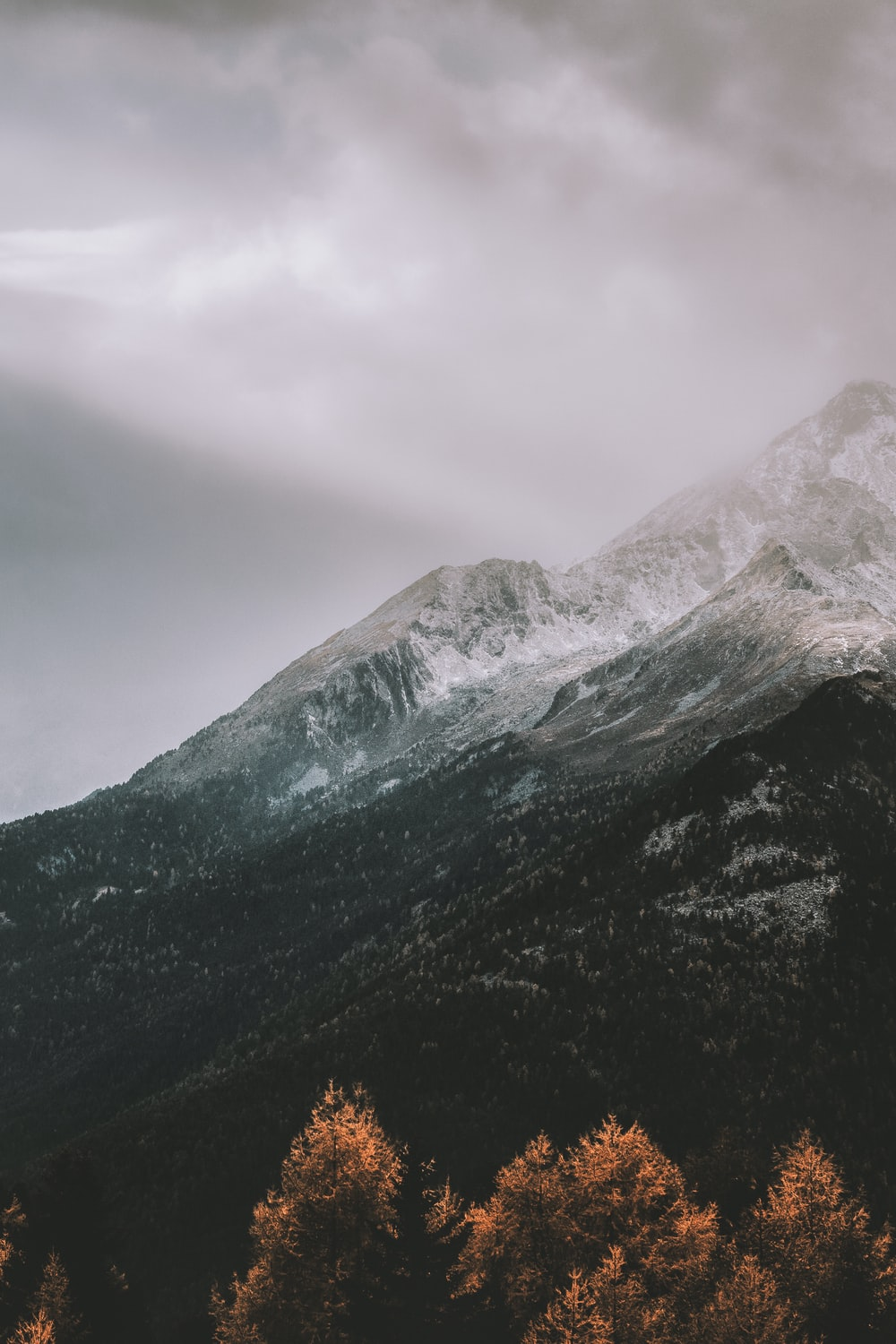 mountain covered by snow during daytime
