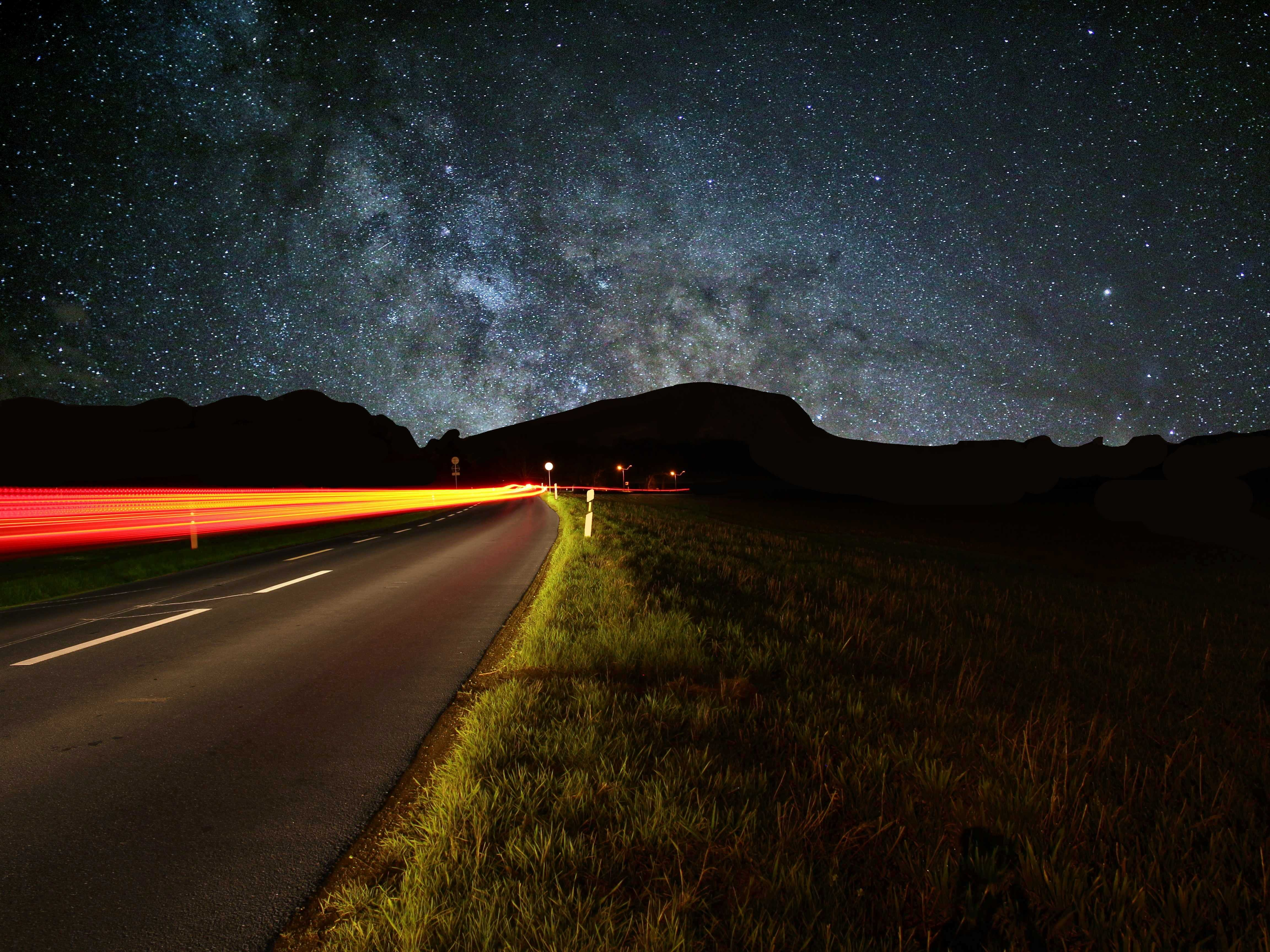 long exposure photography of car
