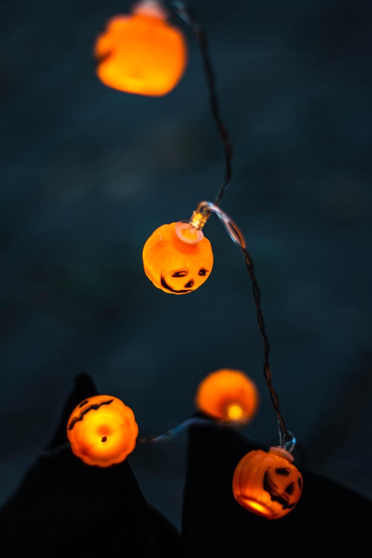 orange string lights